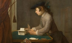 Detail from Boy Building a House of Cards by Chardin, 1735