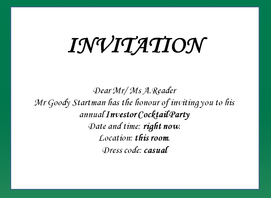 writing an invitation Wording of formal wedding invitations varies depending on who's hosting here are samples of wedding invitations to help you properly word your invitation.